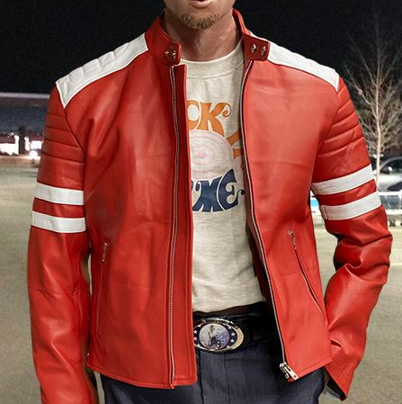 Fight Club Bradpit mayhem red leather jacket