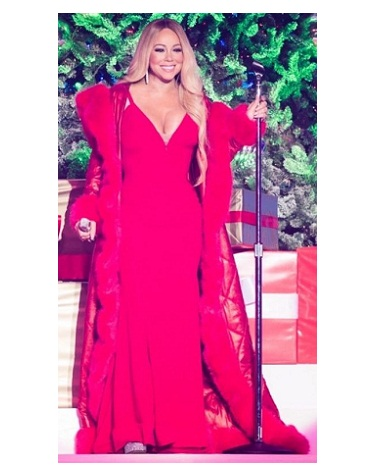 Mariah Carey Red Fur Trench Coat