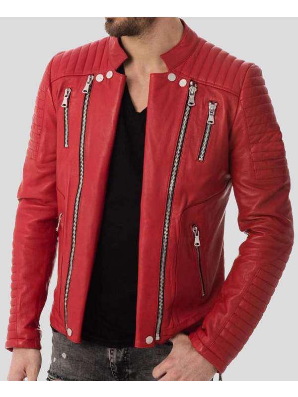 Mens Zipper Style Quilted Leather Jacket