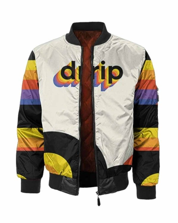 white drip bomber jacket