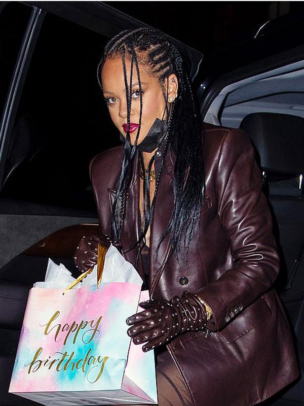 Rihanna Brown Leather Blazer Coat