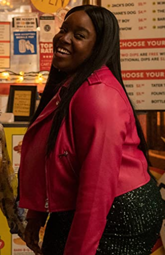 Shrill season 3 Lolly Adefope pink leather jacket