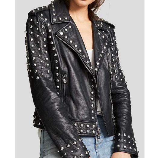 Womens Black Studded Leather Jacket