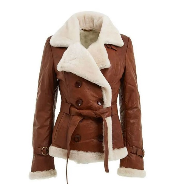 Women's Double Breasted Brown Shearling Leather Jacket