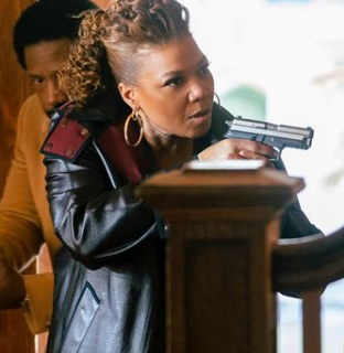 The Equalizer Hunting Grounds E07 Queen Latifah Black Leather Coat With red collar