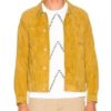 yellow suede leather jacket