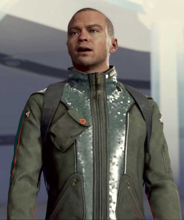 PS4 Video Game Detroit Become Human Markus Green Leather Jacket
