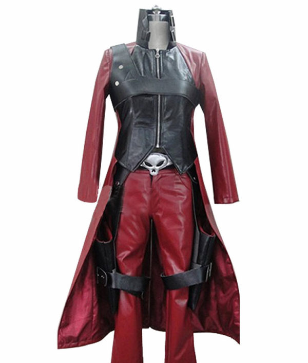 Devil May Cry 2 Dante Maroon And Black Trench Leather Coat