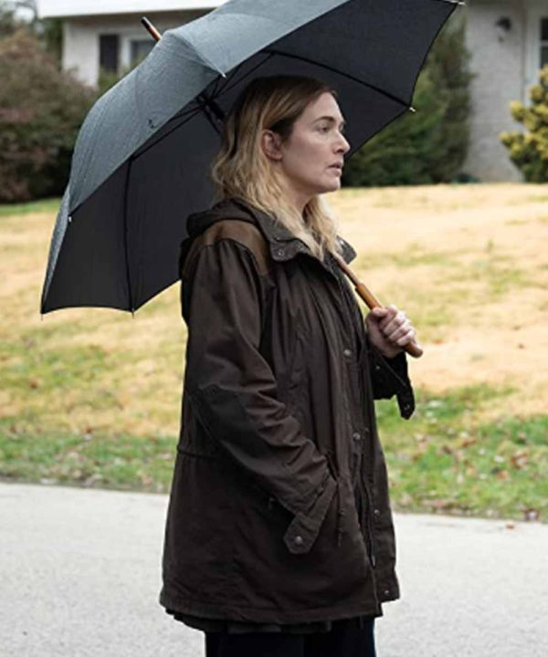 Kate Winslet TV Series Mare of Easttown Mare Sheehan Brown Hooded Jacket