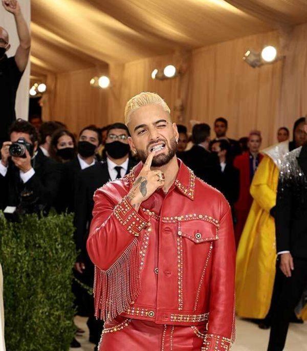 Maluma Met gala 2021 Red Leather Jacket