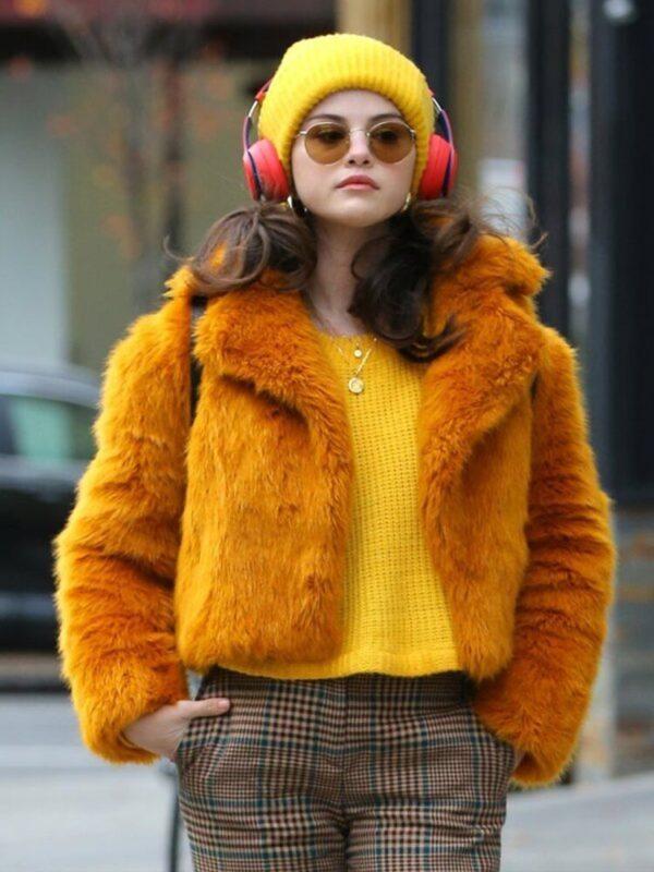 Selena Gomez Only Murders In The Building Orange Fur Jacket