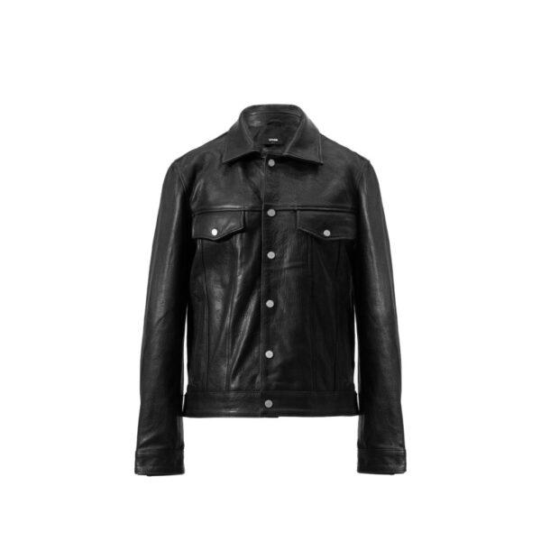 Black Mens Leather Trucker Jacket
