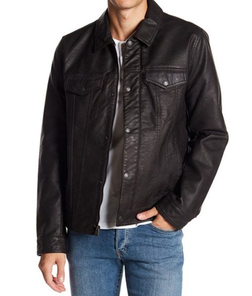 Classic Black Trucker Leather Jacket