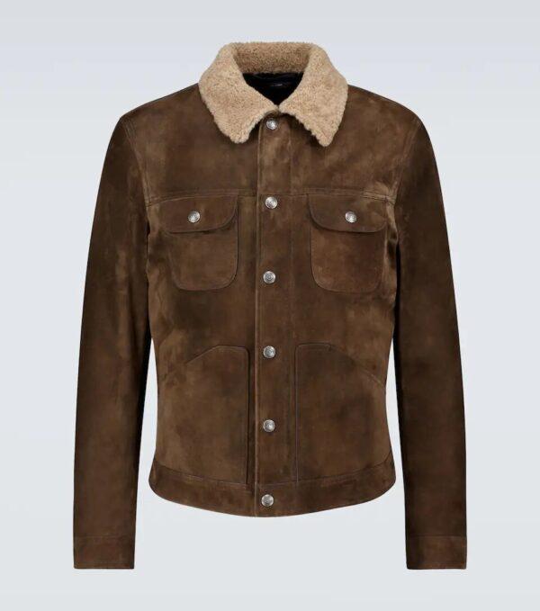 Dark Beige Casual Leather Trucker Jacket