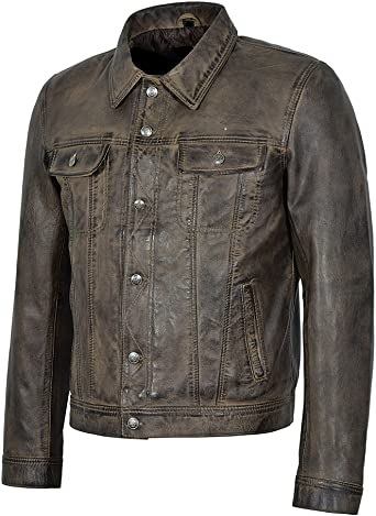 Dirty Brown Leather Trucker Jacket
