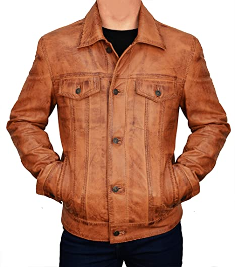 Distressed Brown Trucker Leather Jacket