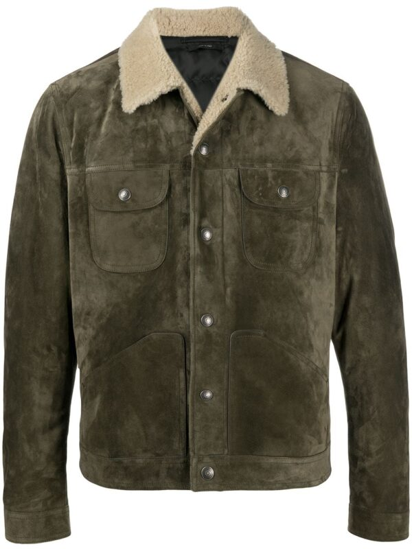 Distressed Green Leather Trucker Jacket