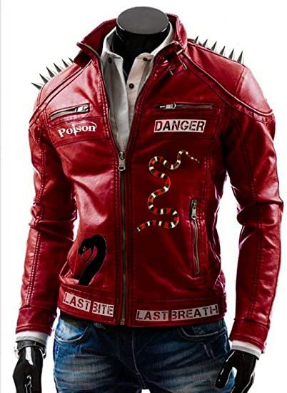I Am Venomous Last Bite Snake Danger Red Studded Jacket
