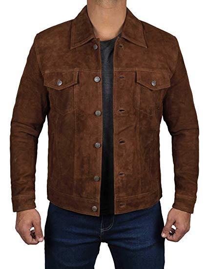 Logan Dark Brown Leather Trucker Jacket