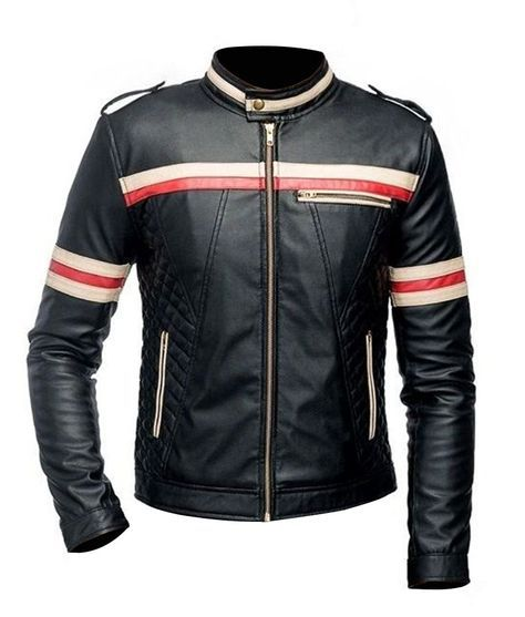 Red And White Striped Black Leather Jacket