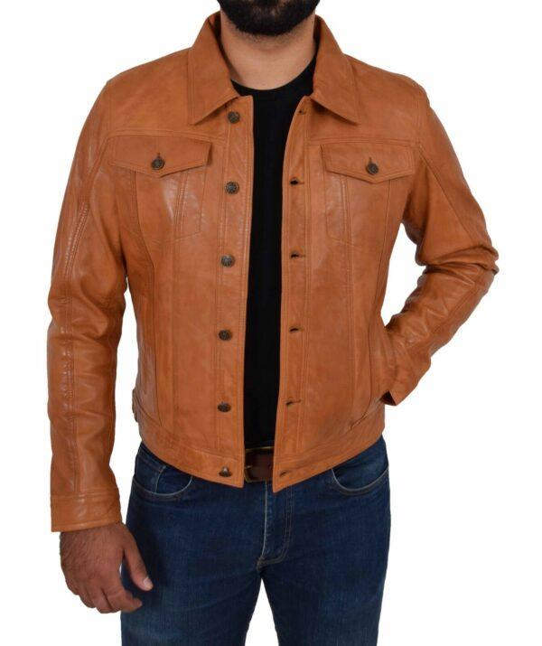 Trucker Mens Leather Jacket