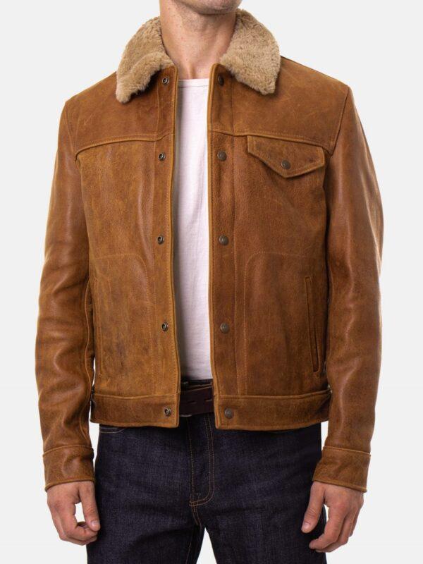 Vintage Buffalo Leather Trucker Jacket
