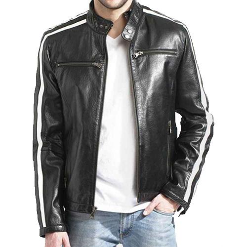 White Striped Café Racer Black Leather Jacket